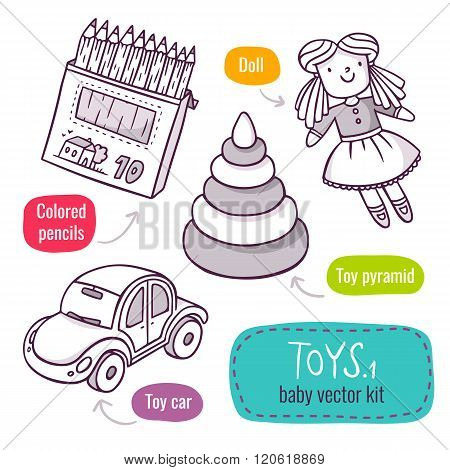 Colored Pencils, Toy Pyramid, Car And Doll - Vector Line Art Icon Set With Baby Toys Isolated On Whi