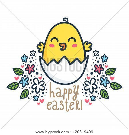 Vector Easter Greeting Card Design Template With Cute Sketchy Chick And Floral Decorations Isolated