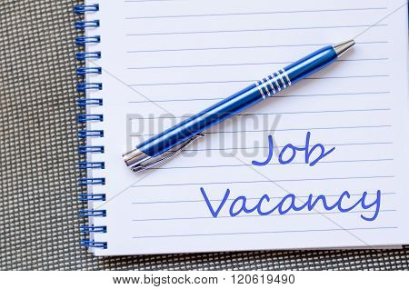 Job Vacancy Write On Notebook
