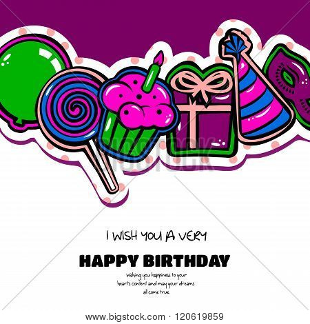 Birthday card with items, balloon, cake, hat, lollipop, masquerade and gift on dotted background. Ve