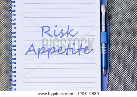 Risk Appetite Write On Notebook
