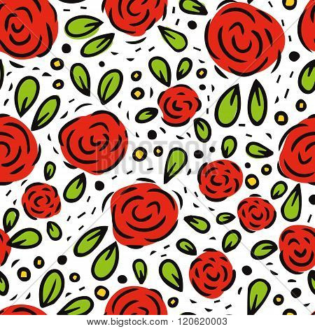Freehand Rosy Vector Seamless Pattern, Romantic Floral Background With Red Flowers And Leaves