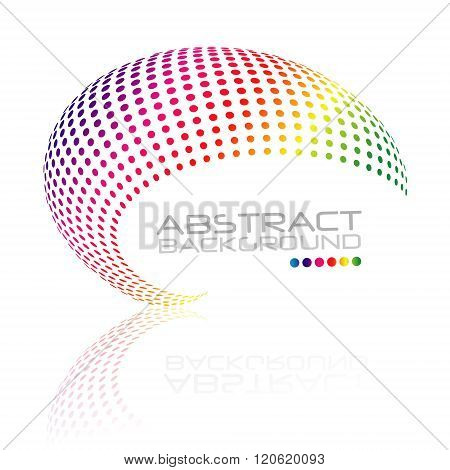 Abstract swirl icon, colorful dots design. Spiral Dots. Vector round dots logo. Circle dots object. Vector dots wave. Dots Halftone illustration. Raibow dots logo.