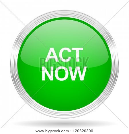 act now green modern design web glossy icon