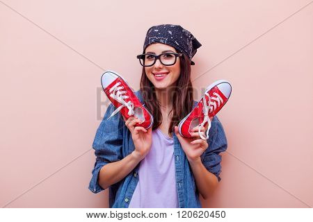 Portrait Of A Young Woman With Gumshoes