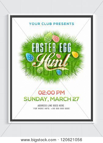 Creative Pamphlet, Banner or Flyer design with colorful eggs on fir leaves for Happy Easter celebration.