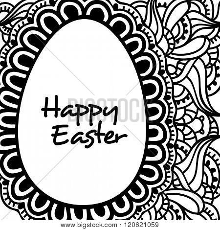 Black and white floral design decorated greeting card with creative egg for Happy Easter celebration.