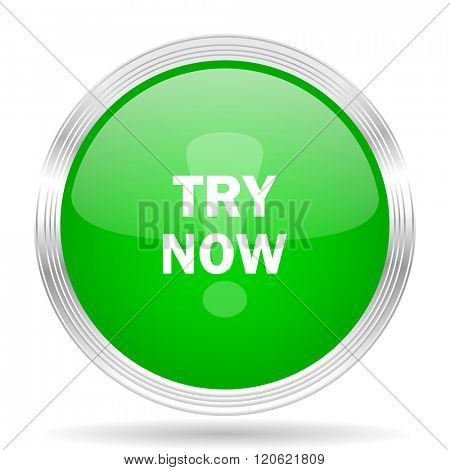 try now green modern design web glossy icon