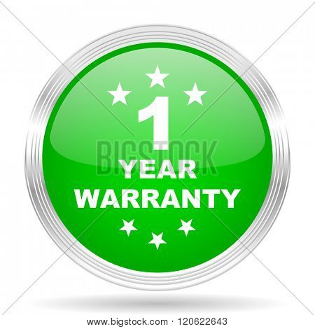 warranty guarantee 1 year green modern design web glossy icon
