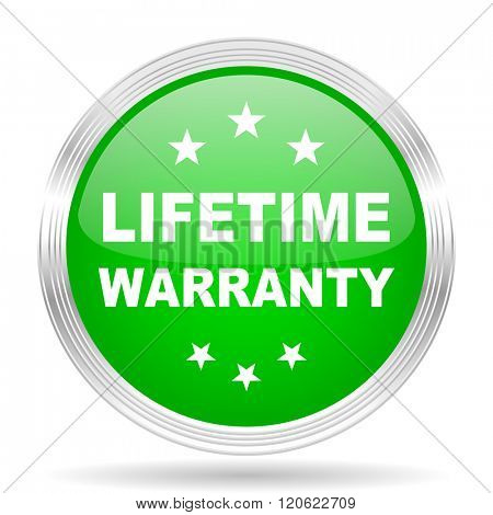 lifetime warranty green modern design web glossy icon