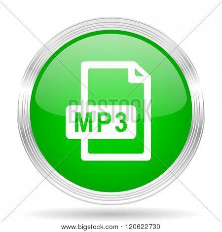 mp3 file green modern design web glossy icon