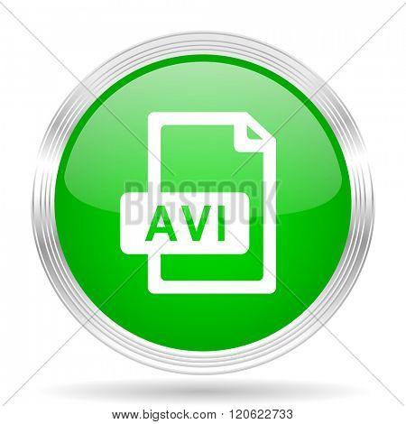 avi file green modern design web glossy icon