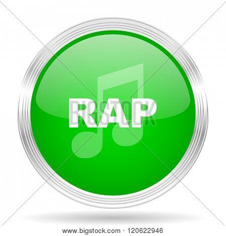 rap music green modern design web glossy icon