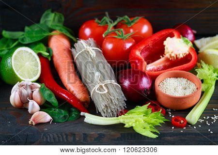 Potato glass noodles and fresh vegetables for cooking Oriental dishes