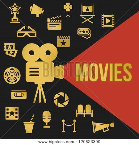 Movies Retro Video Projector with Spotlight. Film Projector Highlights Word Movies. Template vector concept with cinema icons.