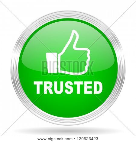 trusted green modern design web glossy icon