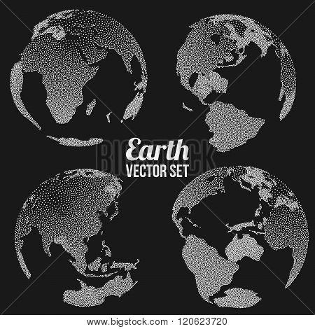 Dotwork Halftone 3D Earth Planet Set. Engraving Earth Vector Illustration. World Globe Dotwork Travel concept on black background