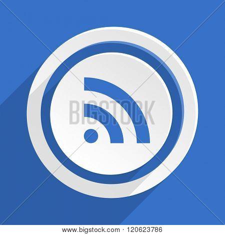 rss blue flat design modern icon