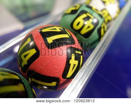 Lotto balls during extraction of the winning numbers