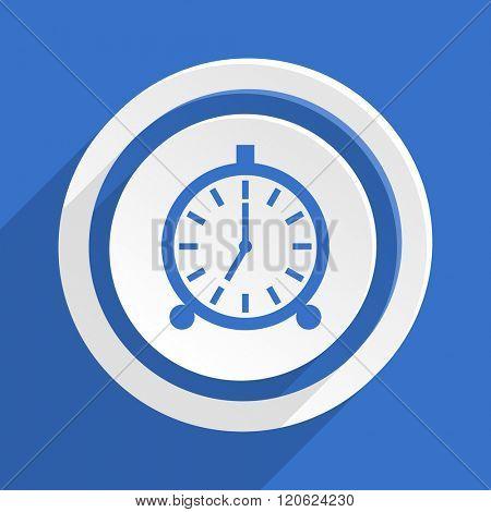 alarm blue flat design modern icon
