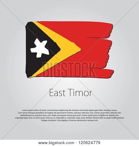 East Timor Flag With Colored Hand Drawn Lines In Vector Format