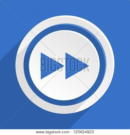 rewind blue flat design modern icon