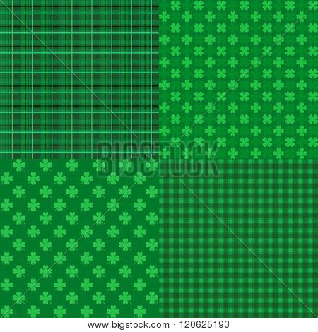 Set Of St. Patrick's Day Seamless Patterns With Stripes And Clover For Wallpapers, Pattern Fills
