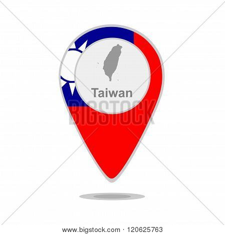 A pointer with map and flag of Taiwan