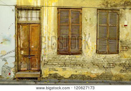 Front of derelict old house in Neve Tzedek quarter of Tel Aviv.