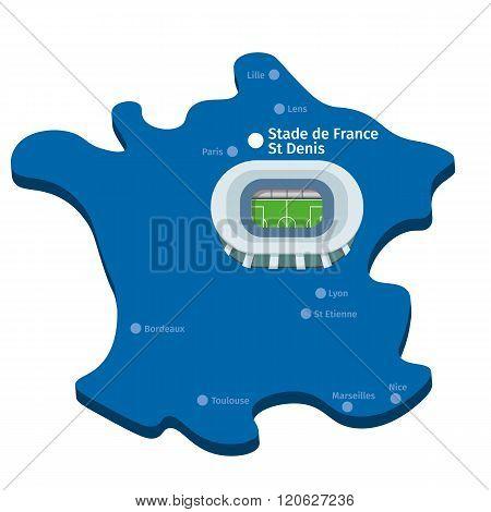 Stade De France. Euro 2016 Vector Clipart