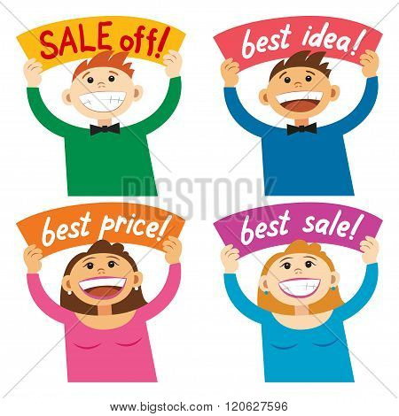 Funny Cartoon People Holding Sign Sale Off, Best Price Smiling Happy People, With Poster Signboard.