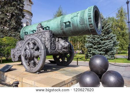 Tsar-Cannon in summer. Moscow Kremlin.