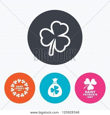 Saint Patrick day icons. Money bag with clover.