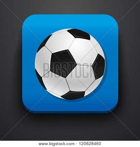 Football symbol icon on blue