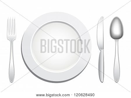 plate spoon fork knife