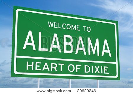 Welcome To Alabama State Road Sign