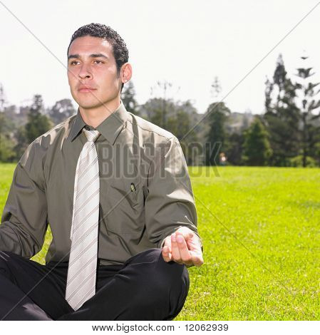 Businessman meditating in park