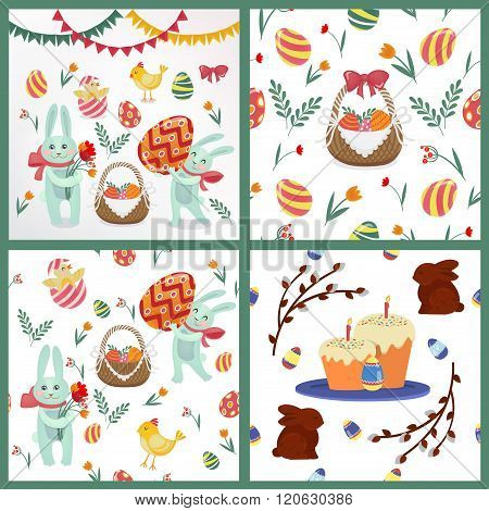 Happy Easter Set Of Backgrounds And Elements - Rabbits, Eggs, Chicks, Flowers And Garlands