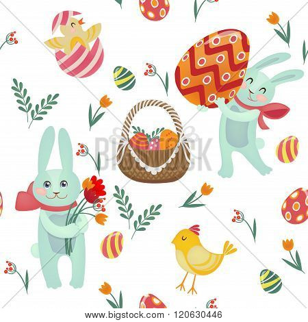 Happy Easter Seamless Pattern With Bunnies, Chicks, Eggs And Flowers