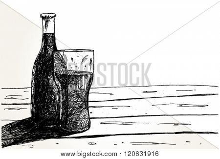Still life with Bottle and Glass