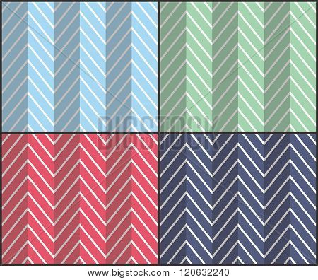 Set of 4 chevron seamless patterns with zigzags. Can be used for wallpapers pattern fills website backgrounds book design textile prints etc. EPS10 vector illustration includes Pattern Swatches.