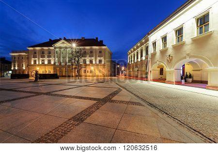 City Hall In Main Square Rynek Of Kielce, Poland Europe