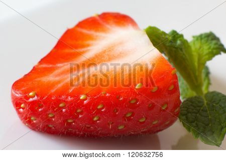 slice  fresh strawberry on a white background