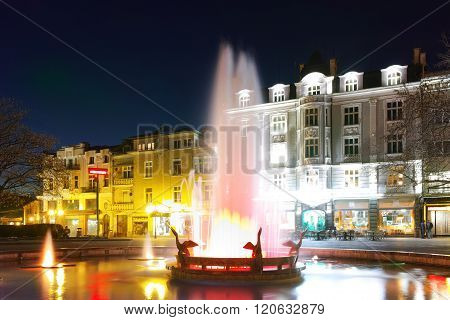 Night photo of Central Street of city of Plovdiv, Bulgaria