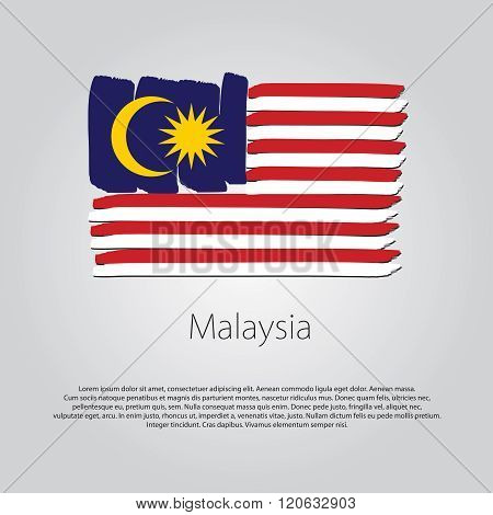 Malaysia Flag With Colored Hand Drawn Lines In Vector Format