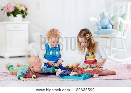 Children Playing Toy Tea Party