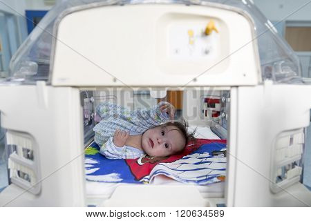 Baby In An Incubator Reaching Out