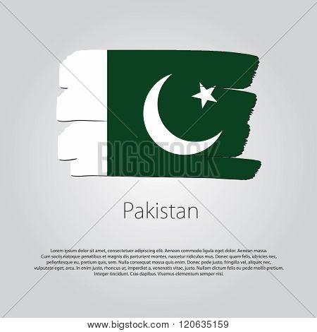 Pakistan Flag With Colored Hand Drawn Lines In Vector Format