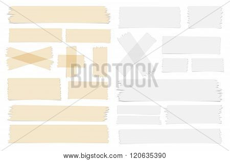 Symbols and different size sticky, adhesive tape pieces on white background