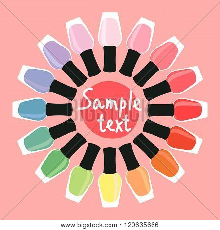 Multicolored Nail Lacquers In A Circle